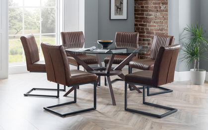 Fulham 1 4m Glass Round Dining Table 6 Chairs