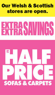 Mega savings - up to half price sofas and carpets