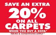 Extra 20% off Carpets