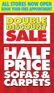 Double discount - up to half price sofas and carpets