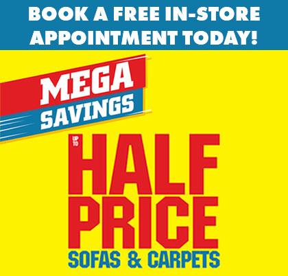 Mega savings - up to half price sofas and carpets