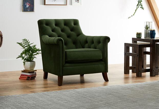 Tetrad Savanna Green Velvet Chair