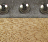 Studded Fabric With Natural Wood Feet