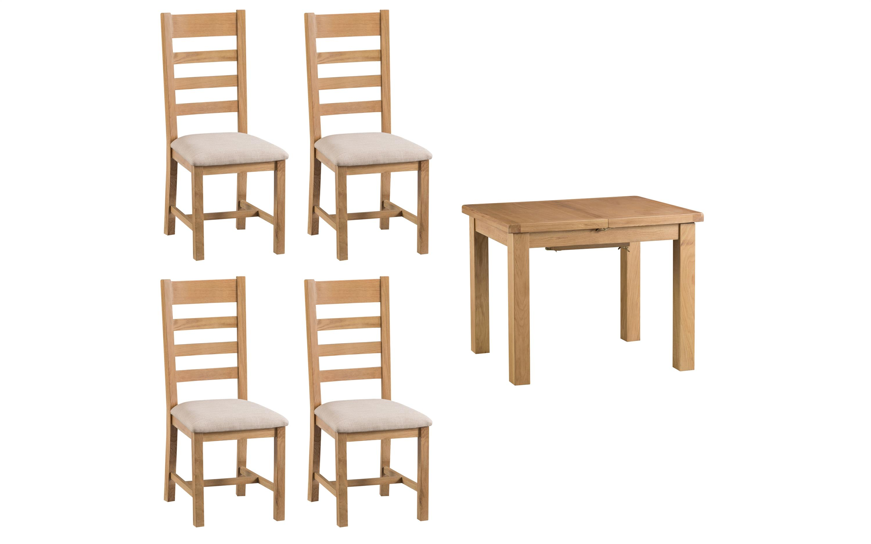 Cruz 1m Extending Dining Table & 4 Ladder Back Chairs, , large