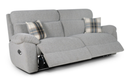 Cloud 3 Seater Manual Recliner Sofa, Cloud Collection Silver, small