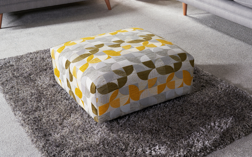 Zeus Patterned Footstool