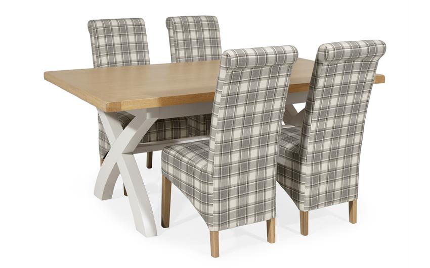 Harper 1.8m Fixed Top Dining Table with 4 Check Scroll Back Chairs, , large