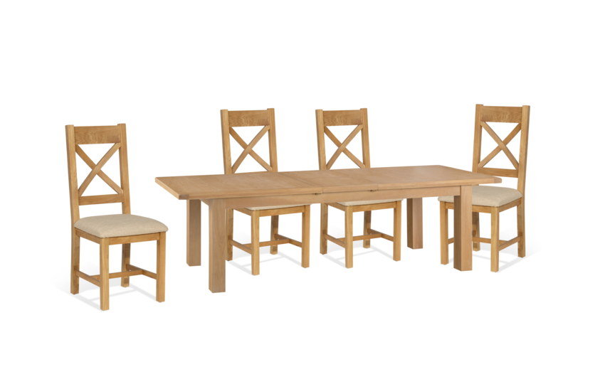 Cruz 2.4m Extending Dining Table & 4 Cross Back Chairs