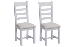 Victoria Pair of Ladder Back Dining Chairs - Fabric Seat, , small