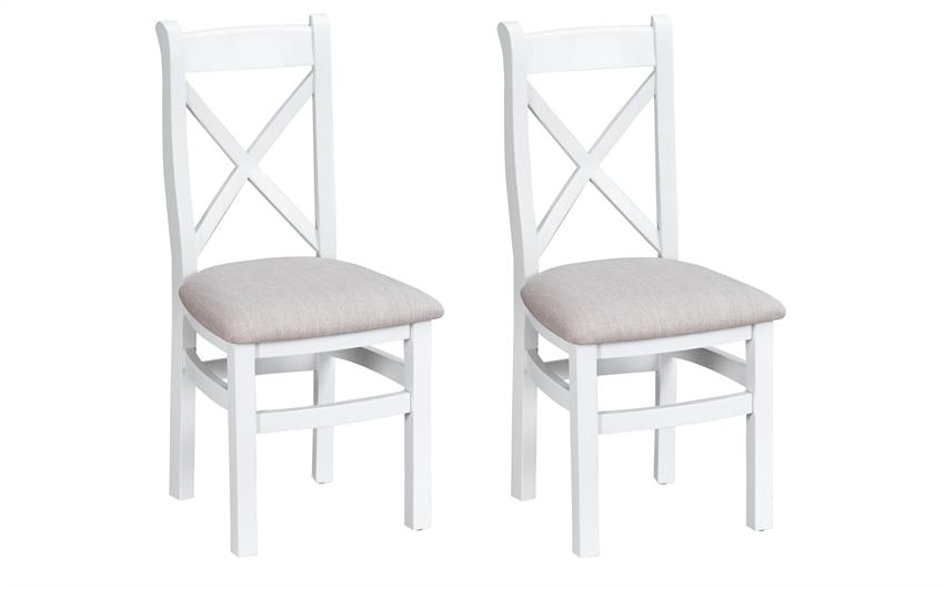 Harper Pair of Cross Back Chairs - Fabric Seat, , large