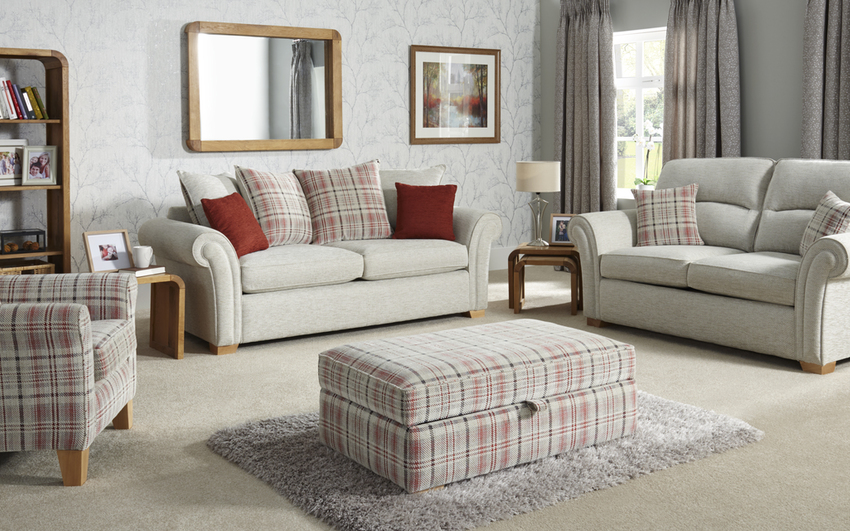 Inspire Chiltern 3 Seater Pocket Sprung Sofa Bed Standard Back, 5602 Stone Diagonal Chenille/7541, large
