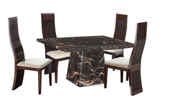 Adelaide 1.2M Marble Square Dining Table & 4 Chairs