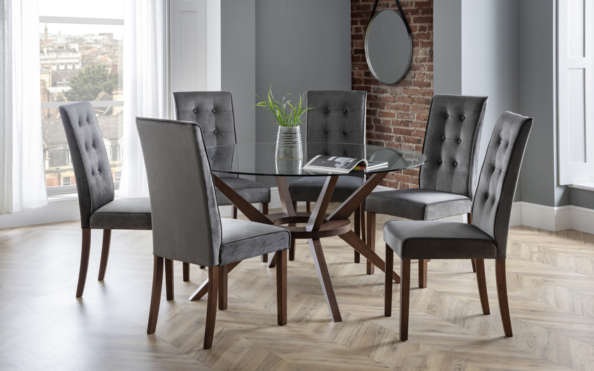 Euston 1.4m Glass Round Dining Table & 6 Chairs