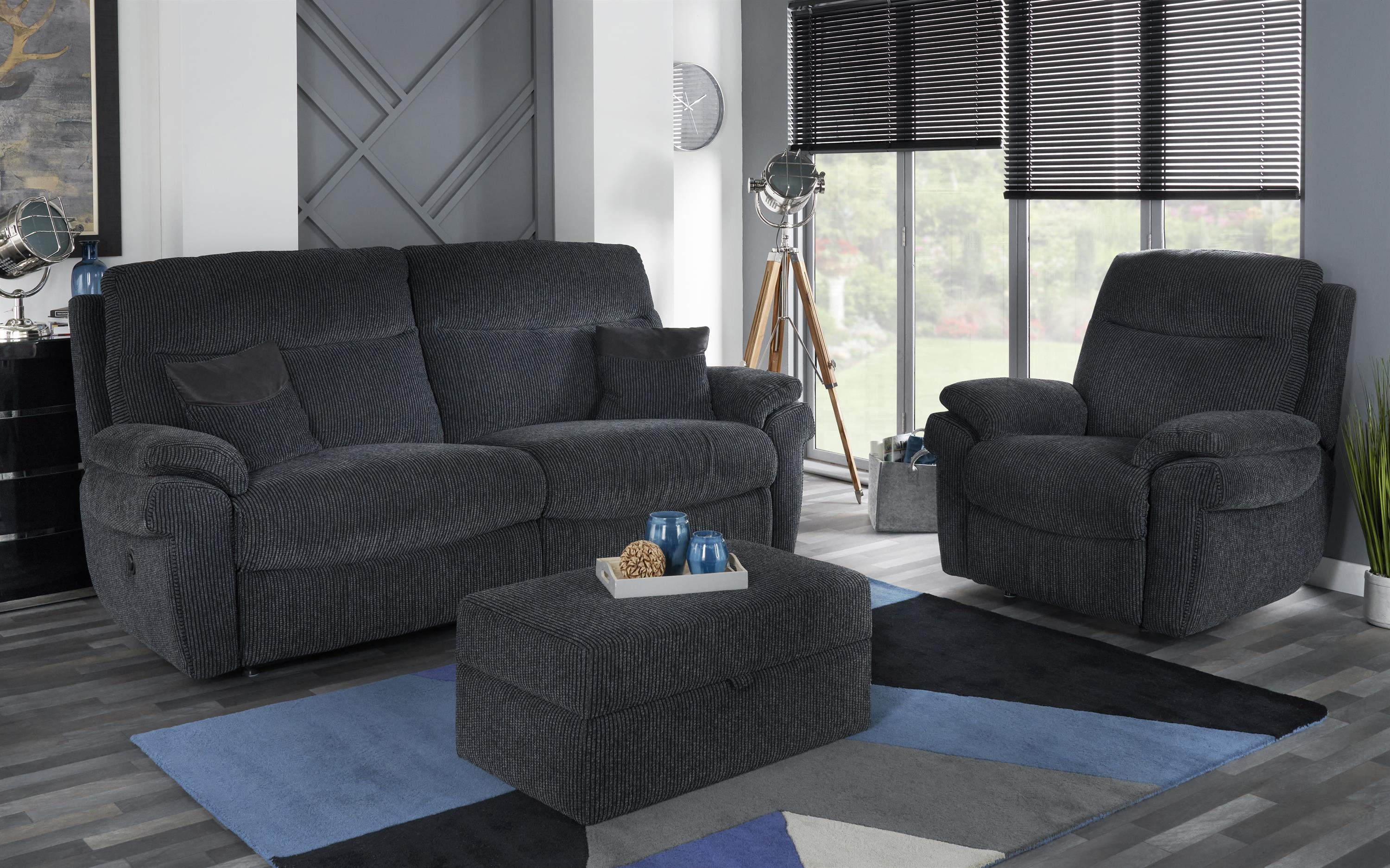 La-Z-Boy Tamla 3 Seater Manual Recliner Sofa, Coda Black, large