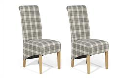Harper Pair of Check Scroll Back Chairs, , small