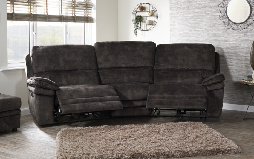 Endurance Atlas 4 Seater Curved Manual Recliner Sofa, , large