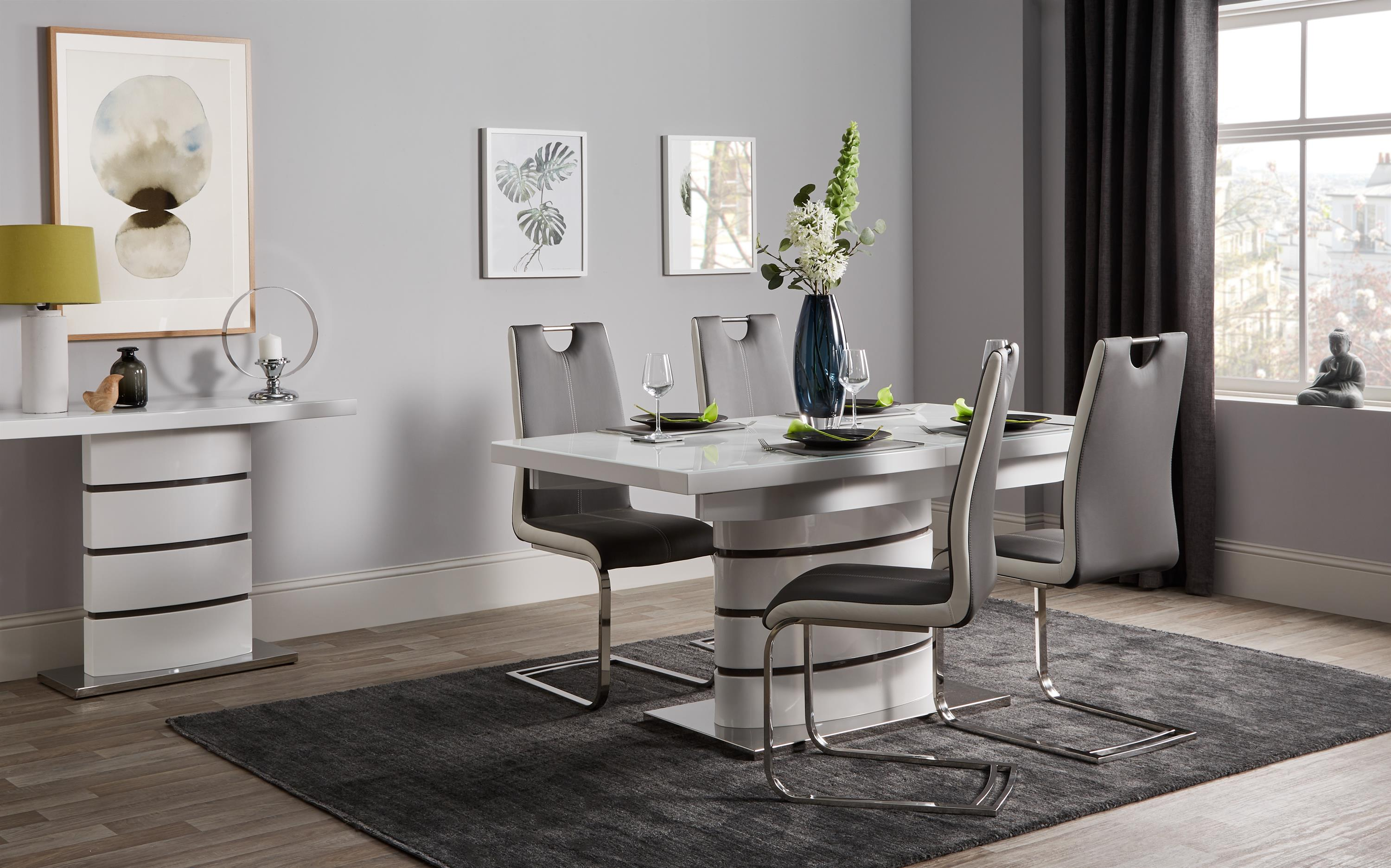 Rimini White Dining Table & 4 Chairs, , large