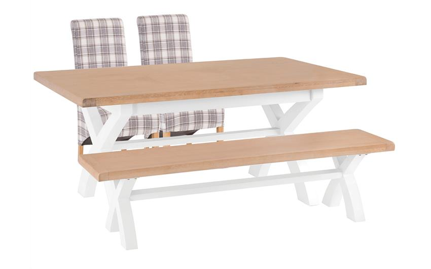 Harper 1.8m Fixed Top Dining Table with 2 Check Scroll Back Chairs & Bench, , large