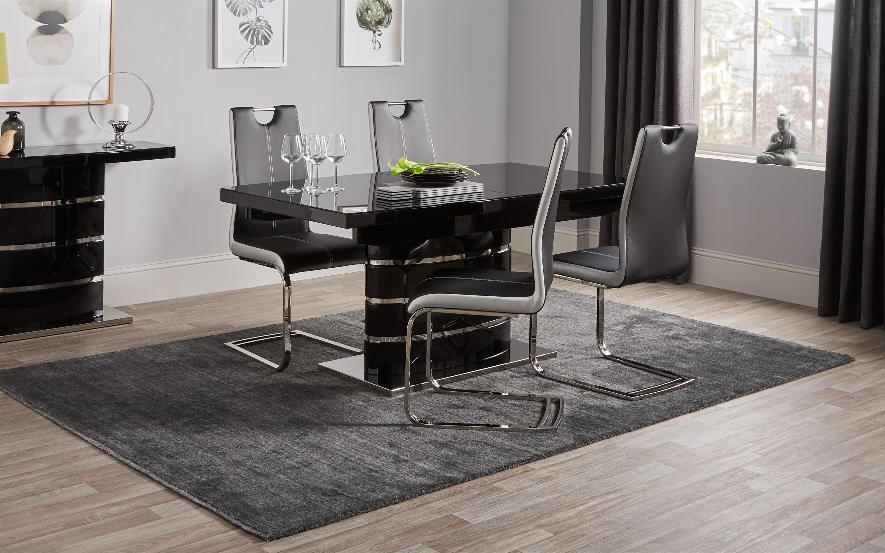 Rimini Black Dining Table & 4 Chairs
