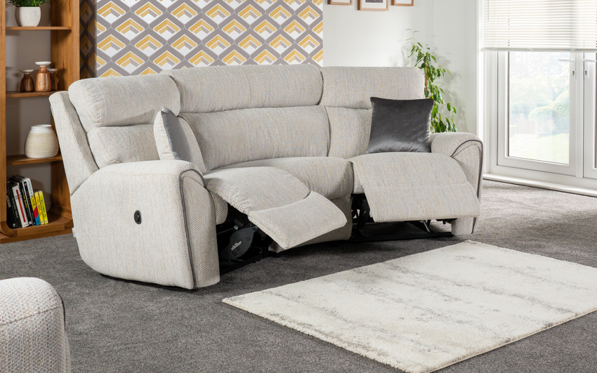 La-Z-Boy Pittsburgh 3 Seater Compact Curved Power Recliner Sofa, , large
