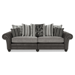San Jose 4 Seater Split Sofa Scatter Back, Alas Char/Ari Blk/Adr Grey/Tre Grey, small