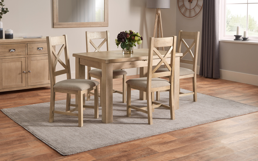 Romeo 1.25m Extending Dining Table & 4 Cross Back Chairs