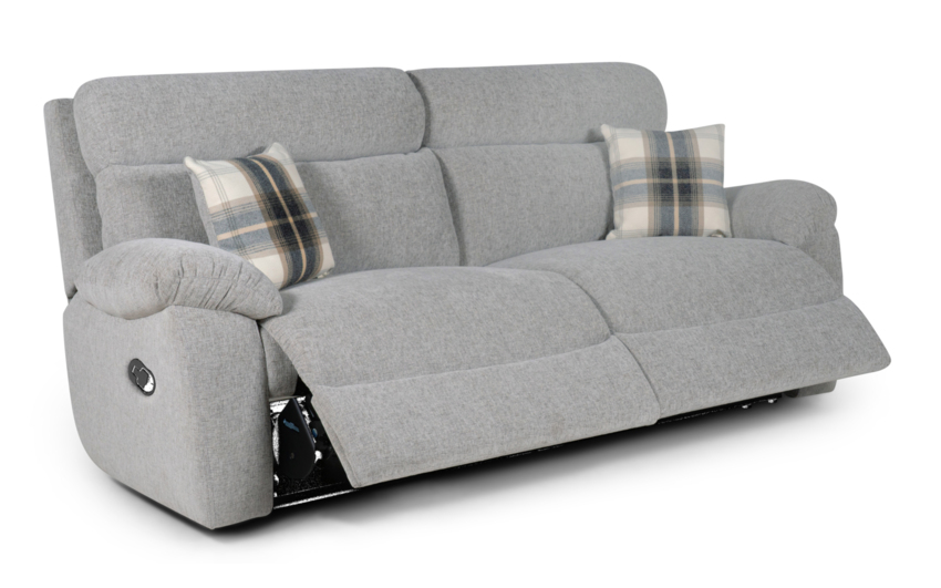 Cloud 3 Seater Manual Recliner Sofa, Cloud Collection Silver, large