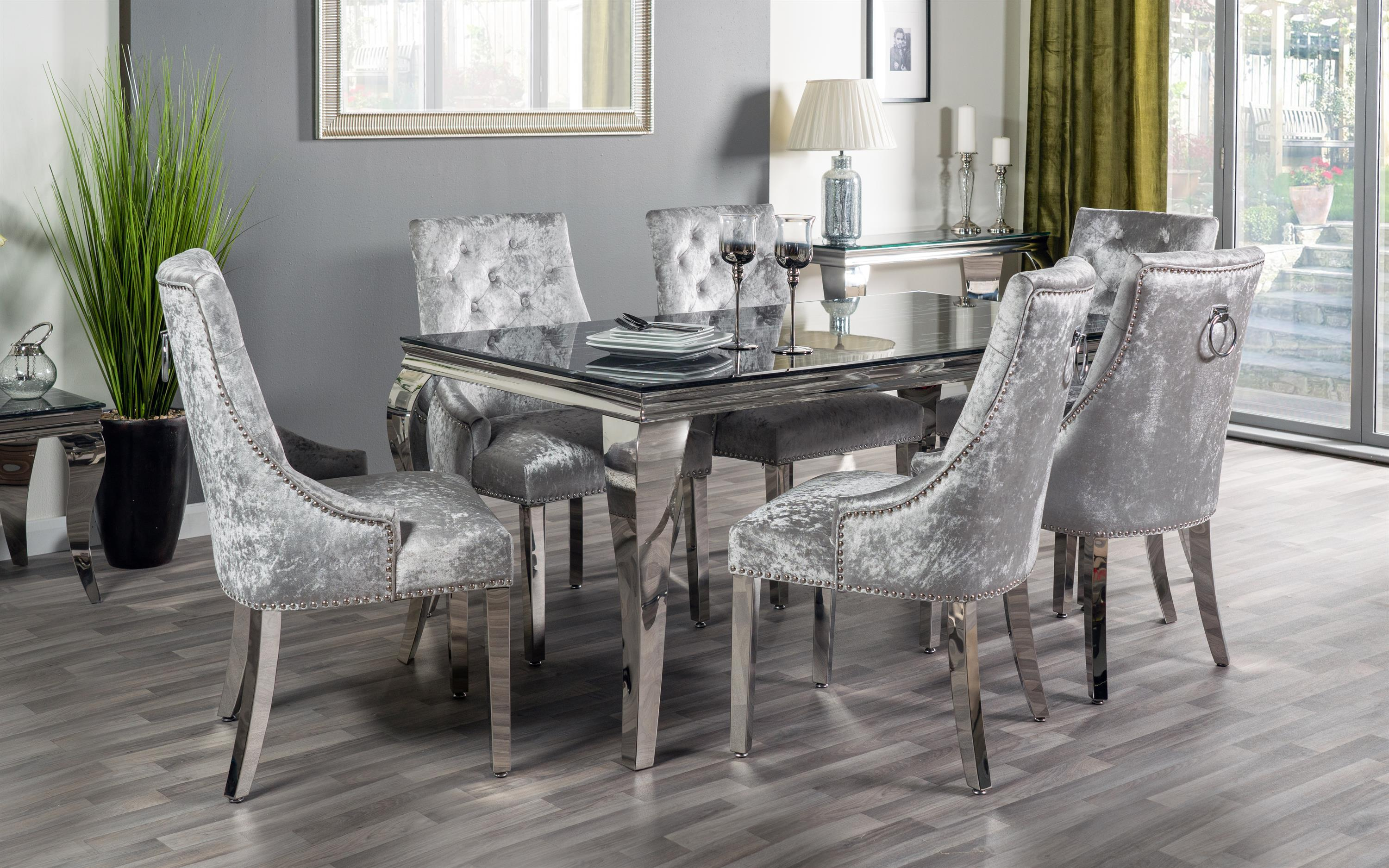 Paris Marble Effect Dining Table & 6 Silver Chairs