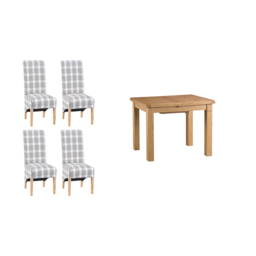 Cruz 1m Extending Dining Table & 4 Check Scroll Back Chairs, , small