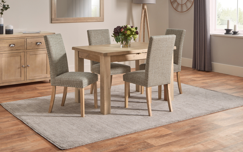 Romeo 1.25m Extending Dining Table & 4 Studded Chairs