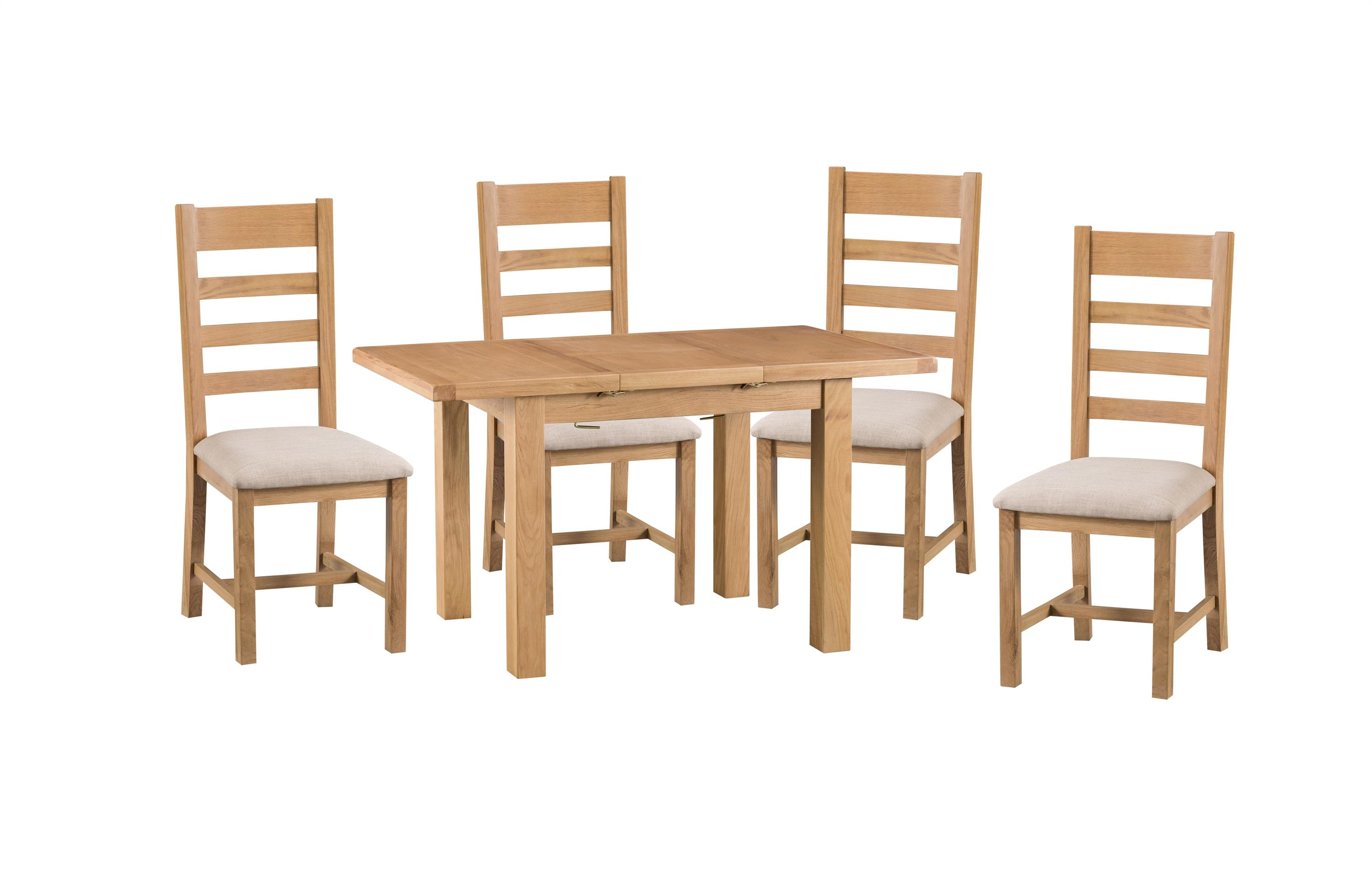 Cruz 1.25m Extending Dining Table & 4 Ladder Back Chairs, , large
