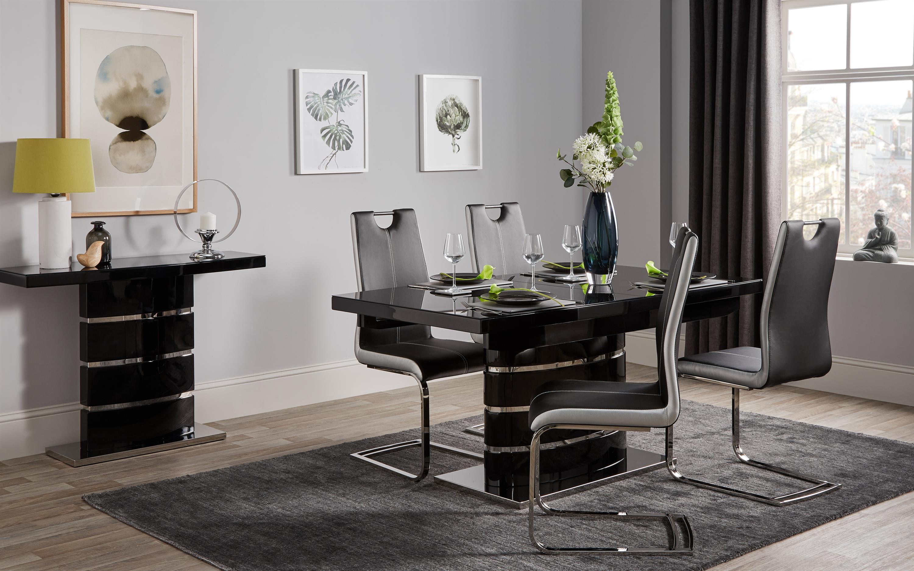Rimini Black Dining Table & 6 Chairs, , large