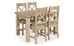 Romeo 1.25m Extending Dining Table & 4 Cross Back Chairs, , small