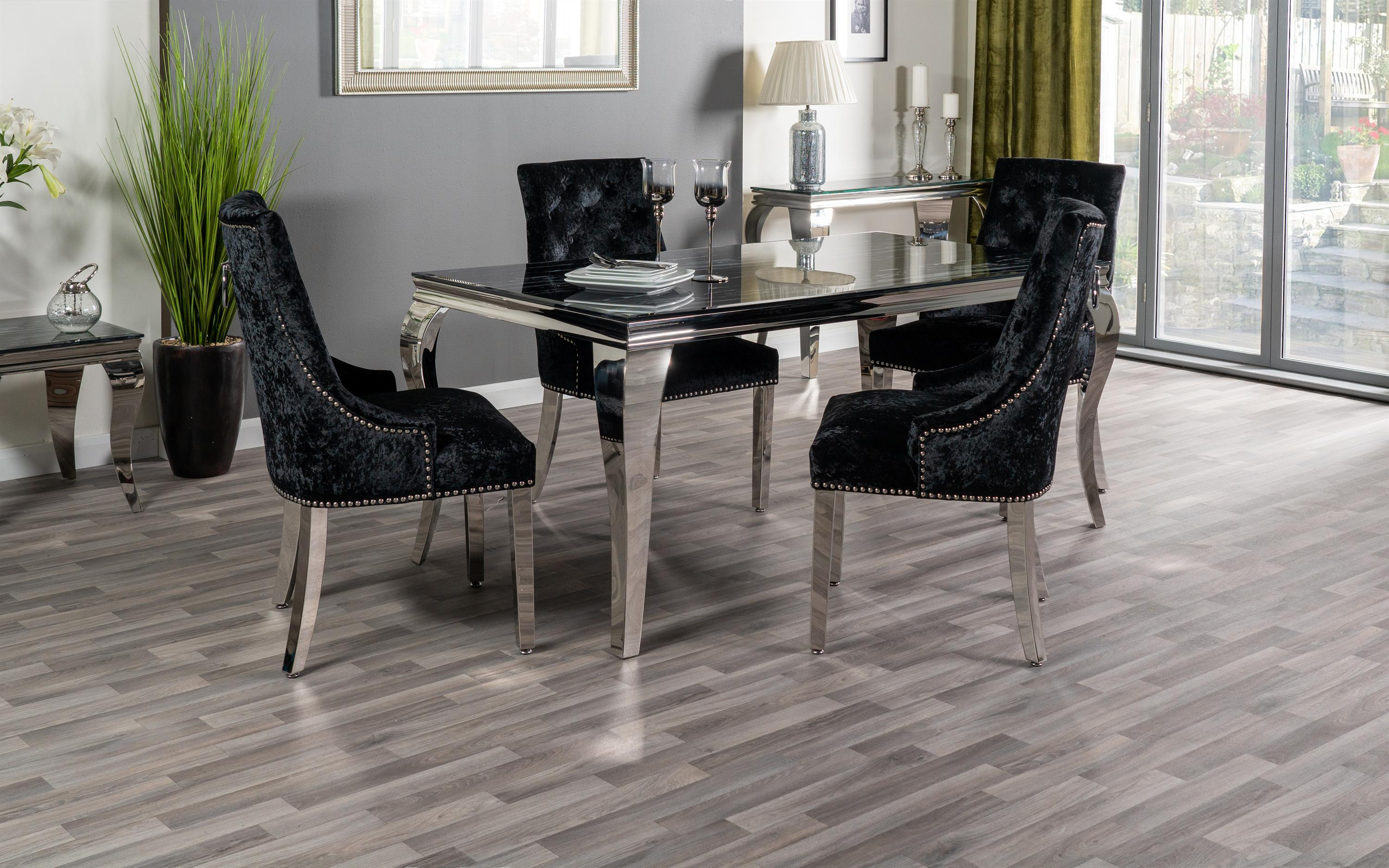 Paris Marble Effect Dining Table & 4 Black Chairs