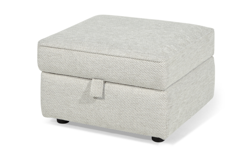 Inspire Chiltern Storage Footstool, 5602 Stone Diagonal Plain Chenille, large