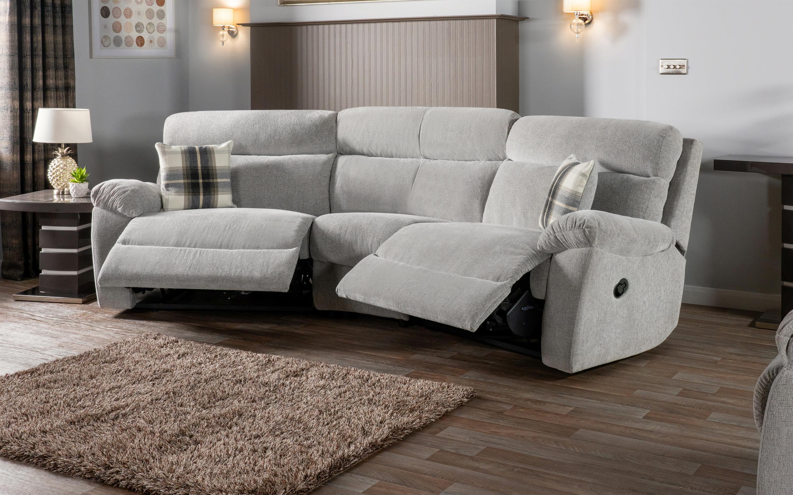 Cloud 4 Seater Curved Manual Recliner Sofa, , large