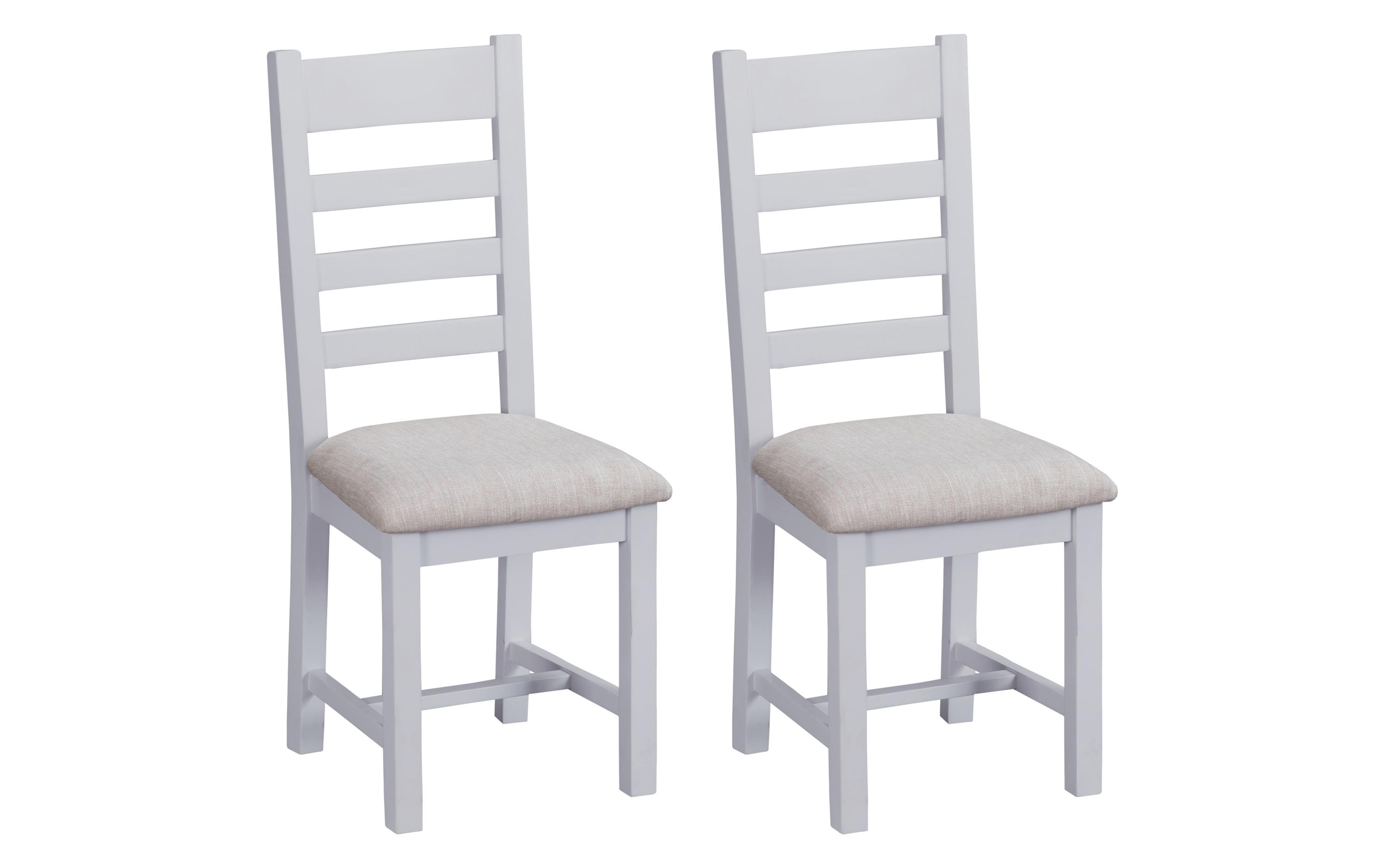 Victoria Pair of Ladder Back Dining Chairs - Fabric Seat, , large
