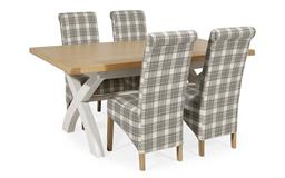 Harper 1.8m Fixed Top Dining Table with 4 Check Scroll Back Chairs, , small