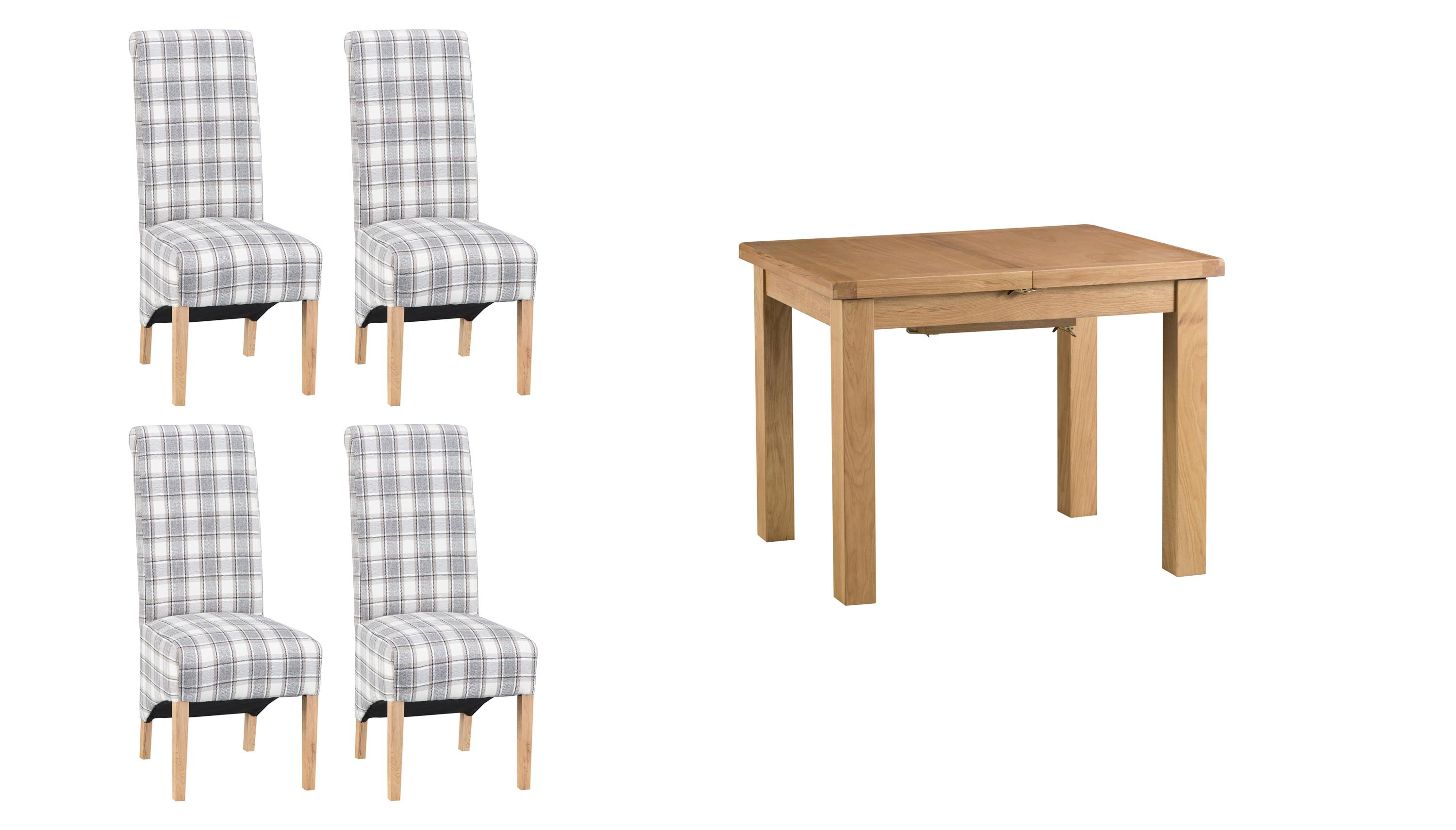 Cruz 1m Extending Dining Table & 4 Check Scroll Back Chairs, , large