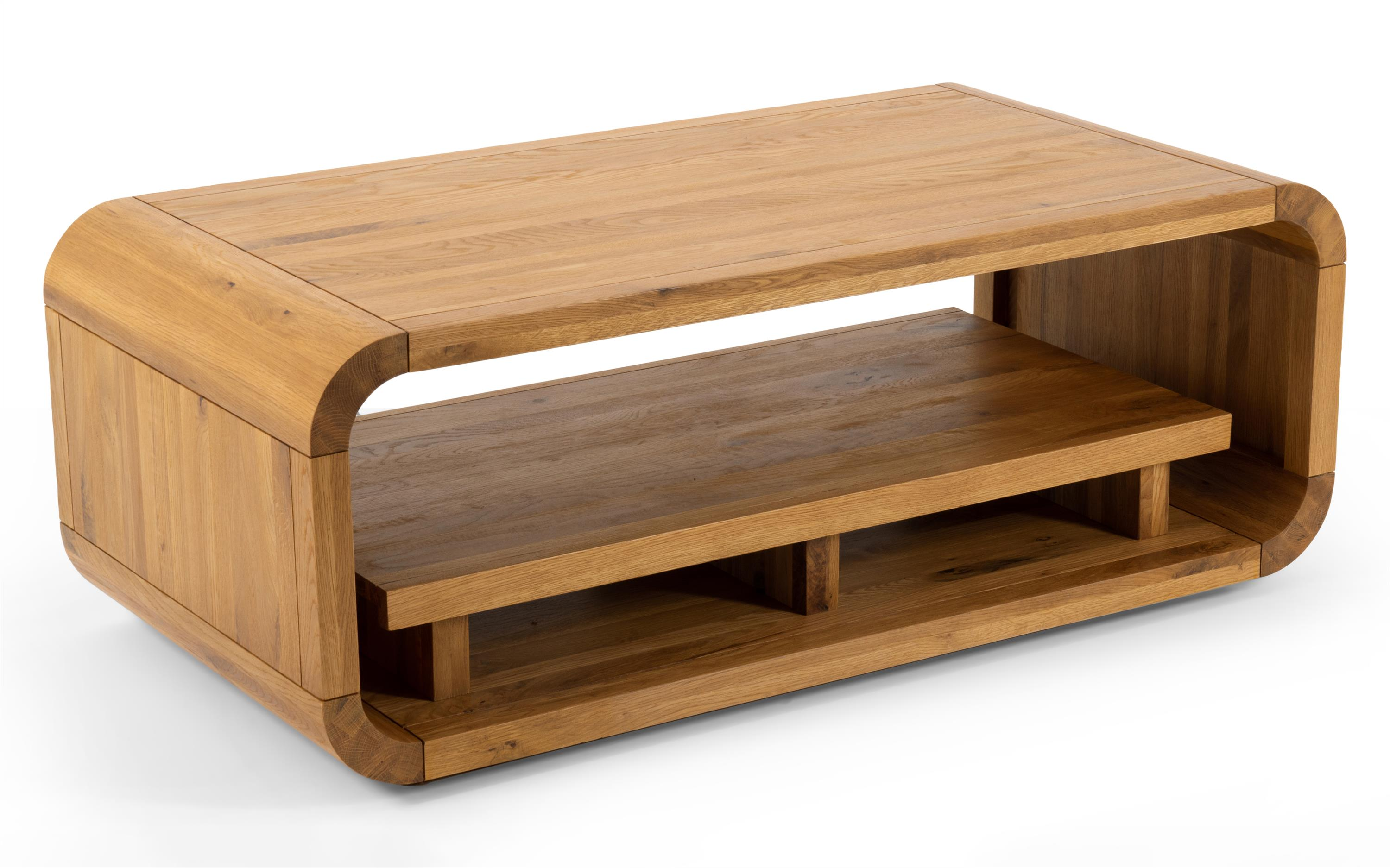 Oak Lounge Coffee Table with Shelf, , large