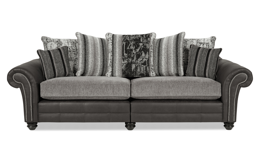 San Jose 4 Seater Split Sofa Scatter Back, Alas Char/Ari Blk/Adr Grey/Tre Grey, large