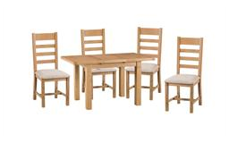 Cruz 1.25m Extending Dining Table & 4 Ladder Back Chairs, , small