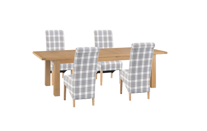 Cruz 2.4m Extending Dining Table & 4 Check Scroll Back Chairs