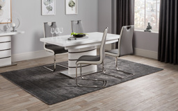 Rimini White Dining Table & 4 Chairs, , small