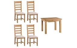 Cruz 1m Extending Dining Table & 4 Ladder Back Chairs, , small