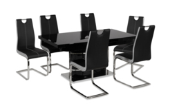 Rimini Black Dining Table & 6 Chairs, , small
