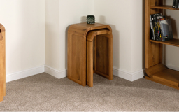 Oak Lounge Nest of Tall Lamp Tables, , small