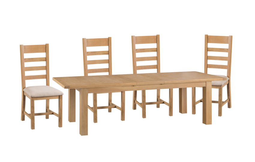 Cruz 2.4m Extending Dining Table & 4 Ladder Back Chairs