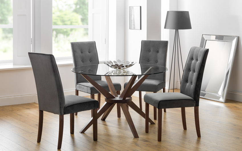 Euston 1.2m Glass Round Dining Table & 4 Chairs