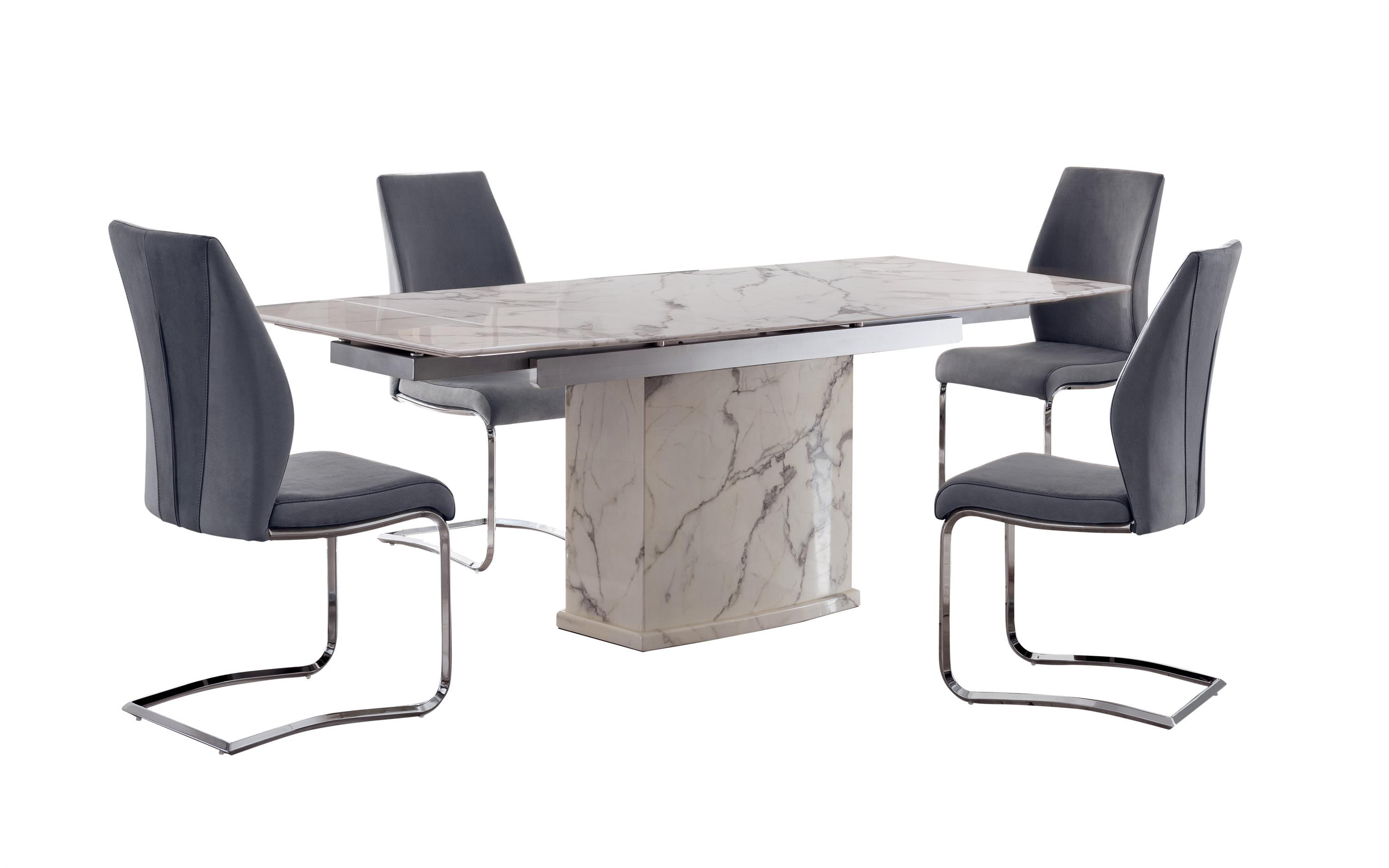 Sophie Extending Marble Dining Table and 4 Chairs, , large